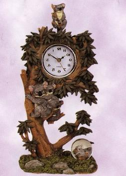Koala Family Sculptured Swing Clock with Water Globe Approx