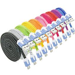 Micro USB Charger, Besgoods 10PCS Long  Colorful High Speed