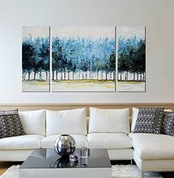 """Modern 100% Hand Painted Framed Wall Art """"Blue Forests"""" 3-Pi"""