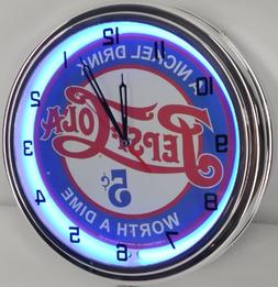 "PEPSI COLA - 5 CENTS WORTH A DIME 15"" NEON LIGHTED WALL CLOC"