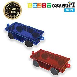 PicassoTiles® 2 Piece Car Truck Set w/ Extra Long Bed & Re-