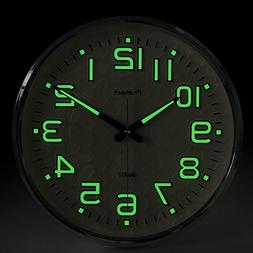Plumeet Night Light Function, 13-Inch Wall Clock with Silent