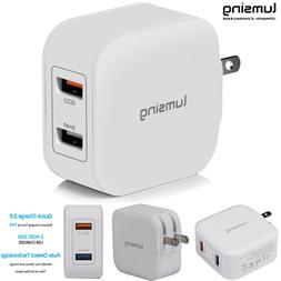 QC 2.0 20W 4A 2-Port USB Wall Charger Adapter Fast Charging
