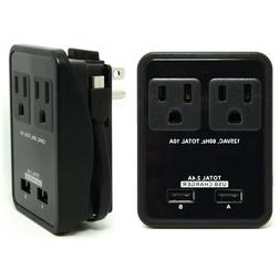 RND Compact Power Station 2.4 Amp Dual USB Ports, 2 AC Outle