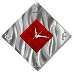 Red Metal Decorative Wall Clock, Abstract Modern Clock for L