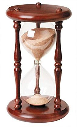 River City Clocks 60 Minute Wood Hourglass Timer with Cherry
