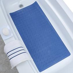 SlipX Solutions Blue Extra Long Rubber Bath Safety Mat Adds
