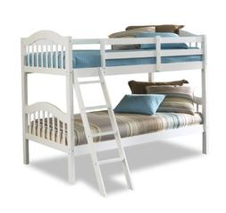 Storkcraft Long Horn Solid Hardwood Twin Bunk Bed, White Twi