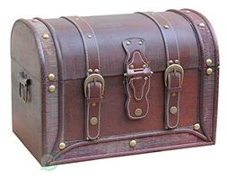 Vintiquewise Antique Style and Leather Trunk with Round Top
