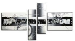 Wieco Art White Black Lines Point 4 Panels Abstract Landscap