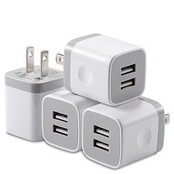 X-EDITION USB Wall Charger,4-Pack 2.1A Dual Port USB Cube Po