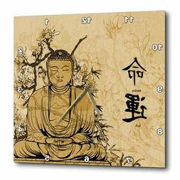 3dRose A Brown Stained Budda With Flowers and Oriental Writi