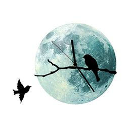 AENMIL 30cm Moon Moonlight Wall Clock with Bird on Branches,