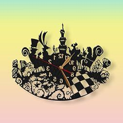 Alice in Wonderland Wall Clock Mad Tea Party, Wooden 12inch