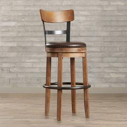 Bar Furniture/ Bar Stool with Cushion Faux Leather Brown Lyn