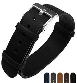 BARTON Leather NATO Style Watch Straps - Choose Color, Lengt