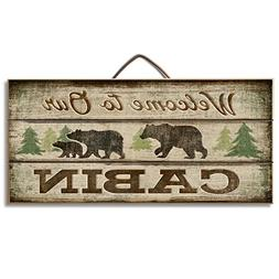 """Highland Graphics Bear and Lodge Decor Wood Sign Reads """"Welc"""
