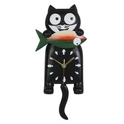 Giftgarden Black Lucky Cat Wall Clock with Swing Tail for Ca