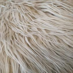 """BLEACHED WHITE SILVER~FAUX FUR FABRIC~EXTRA LONG 2"""" MONGOLIA"""