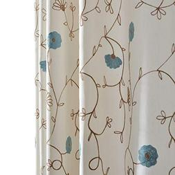 Anady Top Blue Flower Blackout Lined Curtains 2 Panel White