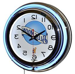 Blue Moon Beer Blue Double Neon Advertising Clock Man Cave D
