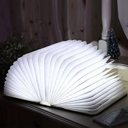 Book Shape Night Light USB Rechargeable LED Foldable Wooden