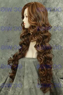 Brown Blonde Mix Extra Long Curly Heat OK Synthetic Lace Fro