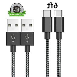 Type C Cable 2 Pack 6FT, Asstar Nylon Braided Cord for ZTE Z