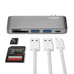 Type-C USB 3.0 5 in 1 Combo Hub for MacBook, Aluminum Multi-