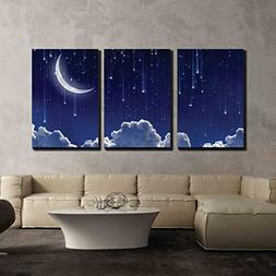 wall26 - 3 Piece Canvas Wall Art - Crescent Moon with Bright