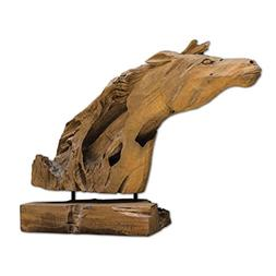 Carved Driftwood Modern Horse Head Sculpture | Solid Natural