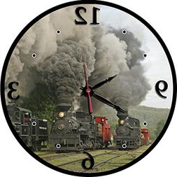 Cass Scenic Side by Side Steam Scene Train Clock