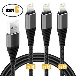 3Pack 6ft Charger Cable CABEPOW for Long 6 Foot iPhone Charg