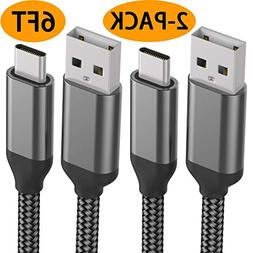 Charger Cable,6FT 2PACK,Fast Charging USB C Cord,Long Nylon