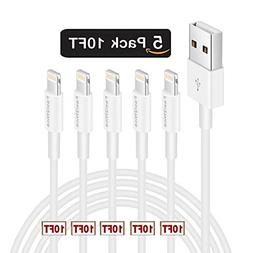 5Pack 10ft Charger Cable Feel2Nice for Long 10 Foot iPhone C