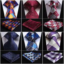 "Check 3.4"" Silk Fashion Mens Extra Long Tie Necktie Handkerc"
