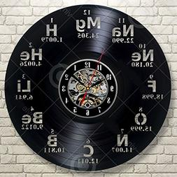 Chemical Element Periodic Table Vinyl Wall Clock Study Chemi