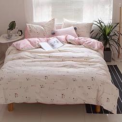 HIGHBUY 3 Piece Teens Bedding Sets Twin Love Heart Cat Print