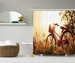 Classic Bicycle Shower Curtain Set By Ambesonne, Retro Style
