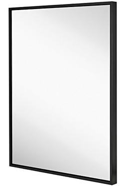 Hamilton Hills Clean Large Modern Black Frame Wall Mirror |
