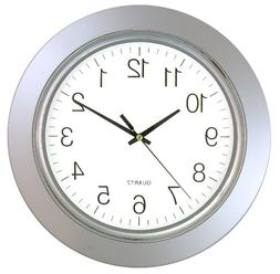 "Timekeeper 13"" Clock with Silver Frame and Chrome Bezel / Fl"