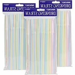 colorful home 300pcs plastic extra long straws
