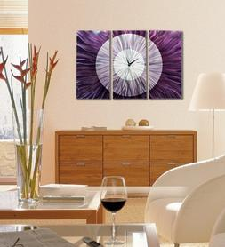 Contemporary Abstract Silver and Purple Metallic 3d Wall Clo