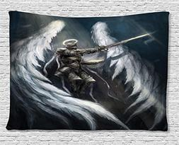 Dark Tapestry Fantasy Decor by Ambesonne, Angel Knight with
