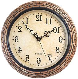 "Lulu Decor, Handmade 15"" Brown Wood Mosaic Wall Clock in Ara"