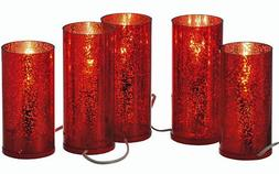 Christmas Decorations - Electrified Set of Five Red Pillar C
