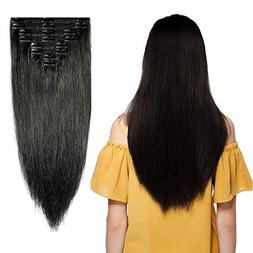 Double Weft Clip in 100% Remy Human Hair Extensions #1 Jet B