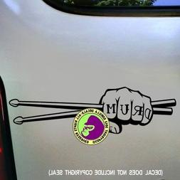 DRUM Sticks Musician Fist Vinyl Decal Sticker B