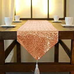 DUOBAO 12x90-Inch Rectangle-Rose Gold-Tassel Sequin Table Ru