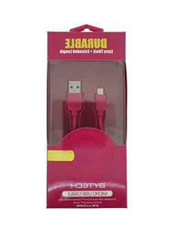 Durable Extra Thick Extended Length Micro USB Cable -Pink